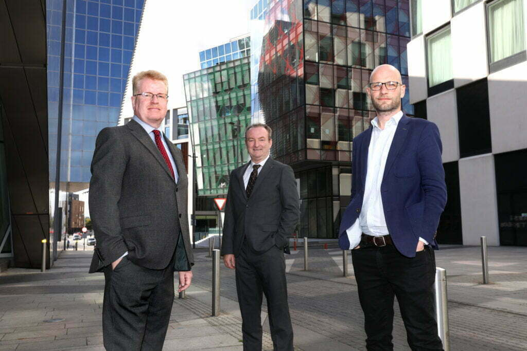 from left Peter Rose, CTO, Nick Connors, MD, TEKenable and Dermot Reid, MD, Greenfinch