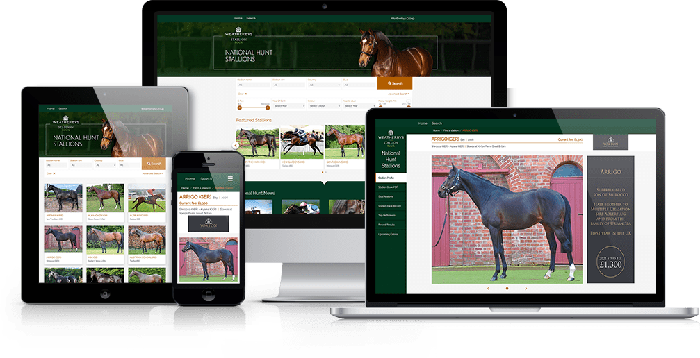 A presentation of the Weatherbys Stallion Book Application showcased on multiple devices