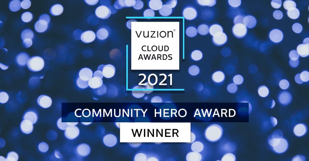 Peter Rose Community Hero Award from Vuzion Cloud Awards.